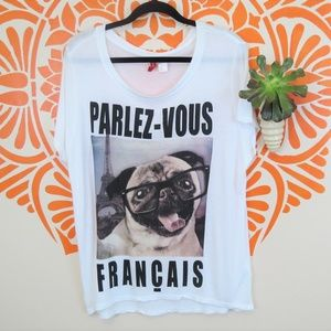 Divided French Pug Funny Graphic T-Shirt L